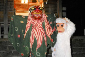 獅子と白猿